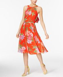 INC International Concepts Petite Floral-Print Belted Halter Dress, Only at Macy's