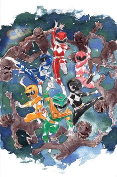 Mighty Morphin Power Rangers variant cover by Dustin Nguyen *