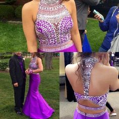 Purple Prom Dress,Mermaid Prom Dress,High Neckline Homecoming Dress,2 Pieces…