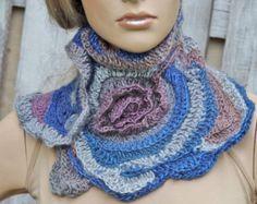 Crochet Scarf Freeform crochet Roses Button Womens scarf di Degra2