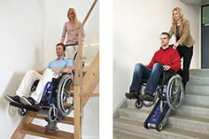 Rolstoelen over trappen   Transporting wheelchairs over stairs
