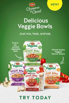 Del Monte® Veggieful™ Bowls feature a blend of veggies, quinoa, and a savory sauce for a wholesome snack or mini-meal. Available in four amazing flavors and super easy to enjoy - just mix, heat, and eat. Find in the canned vegetable aisle or online. Chilli Recipes, Sangria Recipes, Lentil Recipes, Chicken Salad Recipes, Halibut Recipes, Healthy Snack Options, Healthy Snacks, Low Card Meals, Bloody Mary Recipes