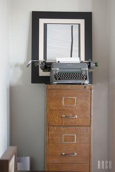 Antique vinage typewriter and filing cabinet