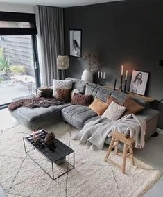 Living Room Scandinavian, Scandinavian Interior Design, Cozy Living Rooms, Living Room Decor, Scandinavian Apartment, Apartment Living, Interior Modern, Scandinavian Style, Kitchen Interior