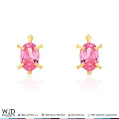 These cute turtle kids stud earrings are designed with round cut pink tourmaline gemstones, safely secured with baby screw back closure and finished in 14K solid yellow gold. Being an October birthstone pink tourmaline makes a great gift for Libra and Scorpio zodiac signs. Product ...