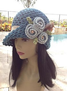 Crochet hat, Vintage rose hat, pattern on Ravelry Crochet Hat With Brim, Crochet Adult Hat, Crochet Cap, Free Crochet, Knitted Hats, Sombrero A Crochet, Flapper Hat, Flapper Style, Rose Hat