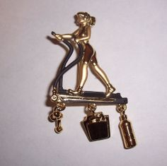 VINTAGE  '' GIRL EXERCISING  '' BROOCH PIN/DANECRAFT