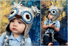Handmade Crochet Frosty Owl Hat for babies and infants