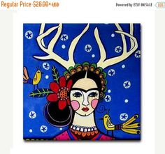 45% Off Today- Mexican Folk Art Tile Ceramic Coaster Print of Frida Kahlo painting by Heather Galler deer Antlers