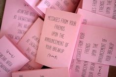 'Messages from your Friends upon the Announcement of your breakup' zine by Awkward Ladies Club