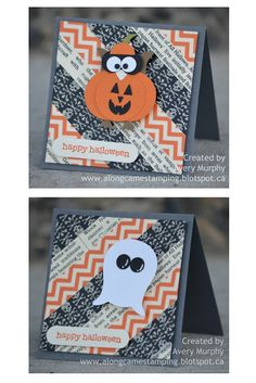 1 of a set of 4 Halloween cards using the owl punch by fellow LNS Treasure Hunt Blogger Avery at   http://alongcamestamping.blogspot.ca/