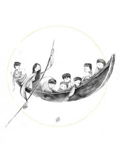 """Moon Boat by Phan Thanh Dat. From $50. You will get an 8"""" x 8"""" size art print on museum quality archival paper. More options available at http://www.projectartshack.com #moon #boat #digitalart #asian #southeastasian #vietnam #art"""