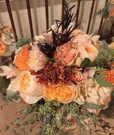 Semones Bouquet-David Austin Juliet roses, english garden roses, seeded eucalyptus and chocolate mum.