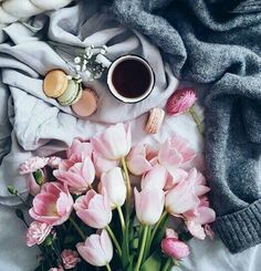 // flatlay ideas, macarons, flatlays, blogging, pretty pictures, coffee, flowers, bed