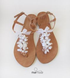 Leather Sandals with White beads decoration by MyMarmade on Etsy, €41.00