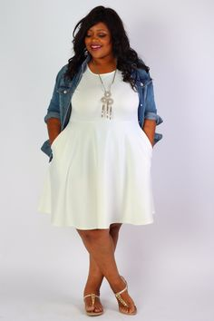 Plus Size Clothing for Women - Solid Skater Dress - Ivory (Sizes 14 - 32) - Society+ - Society Plus - Buy Online Now!