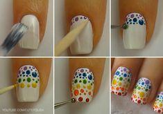 Image in Nails collection by darkness on We Heart It Dot Nail Art, Polka Dot Nails, Nail Art Diy, Blue Nails, Polka Dots, Nail Manicure, Diy Nails, Nail Art Designs, Nails Design
