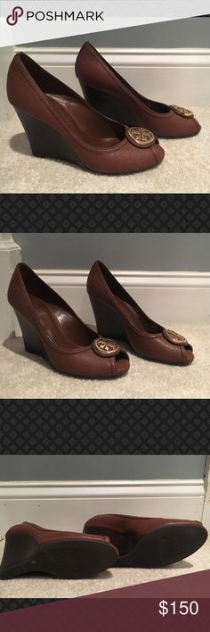 Tory Burch Brown Wedges Tory Burch Brown Wedges - nearly new.  Hardly worn.  We're too high for me. Tory Burch Shoes Wedges