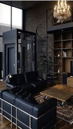 trendy apartment decorating for men bachelor pads man caves My Living Room, Home And Living, Living Spaces, Black Interior Design, Interior And Exterior, Style At Home, Design Apartment, Apartment Ideas, Apartment Layout