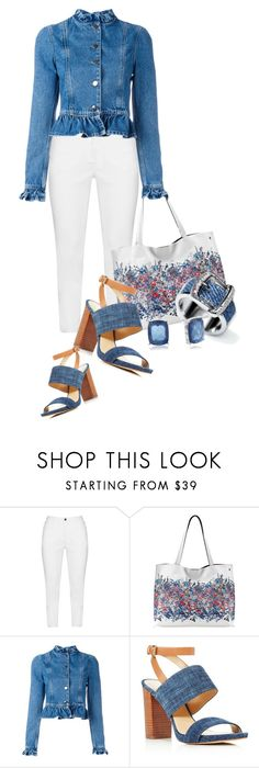 """Wear it in blue Denim (OUTFIT ONLY) (1)"" by queenrachietemplateaddict ❤ liked on Polyvore featuring Zhenzi, Elliott Lucca, J.W. Anderson, MICHAEL Michael Kors, Napier, denim, sandals, floralhandbag and bucklering"