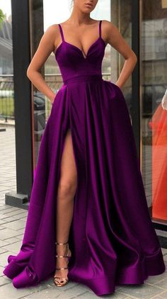 Sexy Spaghetti Straps V-neck Long Satin Evening Gowns Leg Split Prom D – alina. Sexy Spaghetti Straps V-neck Long Satin Evening Gowns Leg Split Prom D – alinanova - - purple prom dresses,purple evening gowns,long prom dresses Source by Elegant Dresses For Women, Simple Dresses, Sexy Dresses, Fashion Dresses, Awesome Dresses, Elegant Prom Dresses, Casual Dresses, Fancy Dresses For Weddings, Sexy Gown
