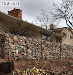 "3'6"" tall gabion wall in Utah, kitsets supplied by Gabion1 http://www.gabion1.com"