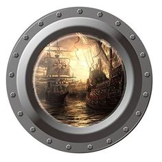 """Dnven (17""""w X 17""""h) Porthole Peel and Stick Window View Sailing 3d Window View Wall Arts Decals Decors Removable Stickers Boat Dnven http://www.amazon.com/dp/B011N9LA5U/ref=cm_sw_r_pi_dp_oFsTwb1G5Z150"""