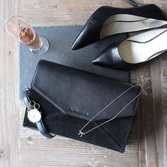Shop bag at www.bydansti.com  #bydansti #clutchbag #nightout #rosé #heels #bow #necklace #tiffanys #watch #danielwellington #details #scandinaviandesign #scandinavianstyle #norway #stonebrick #loveit #black #rosegold #earrings