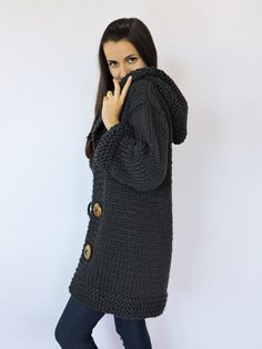 Merino wool cardigan Hand knit black sweater Hooded cardigan ...