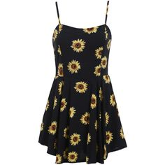 Sunflower Print Spaghetti Strap Mini Dress ($19) ❤ liked on Polyvore featuring dresses, vestidos, sunflower print dress, sunflower summer dress, sunflower dresses, short a line dresses and short summer dresses