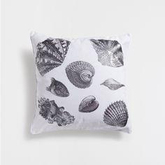 Imagem 1 de produto Capa de almofada de algodão com estampado metalizado de conchas