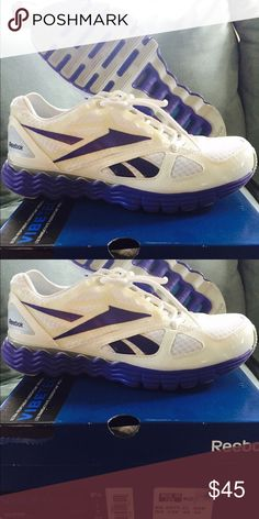 Reebok Sneakers/Shoes Almost new Women's White with Purple Accents Size 8.5 sneakers Reebok Shoes Athletic Shoes