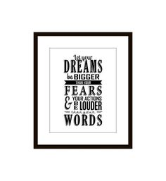 Typographic Print, Inspirational, Motivational Quote Wall Art, Black and White