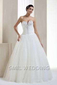 http://www.smilwedding.nl/chiffon-trouwjurk-witte-strapless-prinses-a-lijn-borstelen-trein-sftj2014289.html