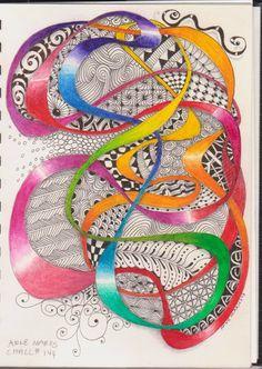 Precious Worker: Diva Challenges 144 and 145 Zentangle Drawings, Doodles Zentangles, Zentangle Patterns, Doodle Drawings, Zantangle Art, Zen Art, Tangle Doodle, Zen Doodle, Elements And Principles