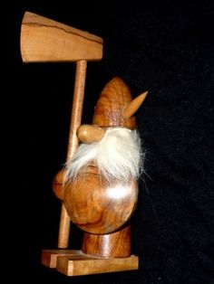 DANISH - wooden - VIKING with AXE - RETRO - BOJENSEN era - TEAK FIGURE
