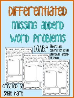 Missing addend word problems Subtraction as Missing Addend Word / Story Problems Differentiated - 3 levels Each of these problems increase in complexity. Math Story Problems, Word Problems, Teaching Math, Teaching Aids, Kindergarten Math, Maths, Second Grade Math, Grade 2, Math Problem Solving