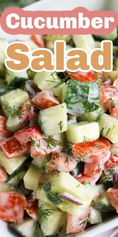 This creamy cucumber salad is fresh, tasty, low carb, and is a great side dish to BBQ or other grilled summer meals or picnics. This dill salad has cucumber, tomatoes, peppers, onions, dill, and mayo to put together and serve for a fresh creamy low carb salad. It is the perfect side dish to take to your next family get together. Try making this yummy cucumber salad this weekend! #salad #cucumber #easy #sidedish #recipes