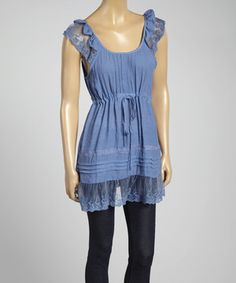 Love this Denim Lace Ruffle Empire-Waist Tunic by Simply Irresistible on #zulily! #zulilyfinds
