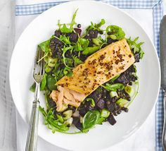 Honey mustard grilled salmon with Puy lentils A light and vibrant fish dish with earthy beetroot and lentils, served with basil, rocket and sweet grilled salmon
