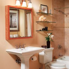 20 bathroom storage over toilet organization ideas. You have a small bathroom and you don't have idea how to design it? A small bathroom can look great and be fully functional as the large bathrooms. Bathroom Storage Over Toilet, Small Bathroom Shelves, Small Space Bathroom, Modern Bathroom Design, Glass Shelves, Small Bathrooms, Small Spaces, Small Baths, Cozy Bathroom
