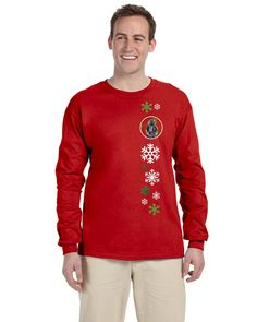Black Standard Poodle Red Snowflakes Holiday Long Sleeve Red Unisex Tshirt Adult Small SC9746-LS-RED-S