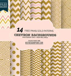 FREE 14 Free Zigzag Chevron Scrapbook Papers in Soft Pink and Gold, nice combination