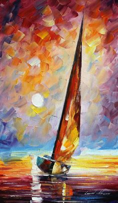Leaning sailboat of afremov painting & art art, sailboat art и watercol Sailboat Art, Sailboat Painting, Sailboats, Oil Painting On Canvas, Canvas Art, Oil Paintings, Painting Art, Painting Inspiration, Amazing Art