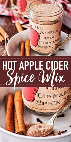 This recipe for homemade Hot Apple Cider Cinnamon Spice Mix is amazing! It's easy to make with few ingredients and makes for a perfect DIY Thanksgiving hostess or Christmas food gift. Stir into hot apple juice or red wine for a delicious and warming holid Homemade Dry Mixes, Homemade Apple Cider, Hot Apple Cider, Homemade Spices, Homemade Seasonings, Apple Cider Recipe With Apple Juice, Hot Spiced Cider, Homemade Recipe, Homemade Food