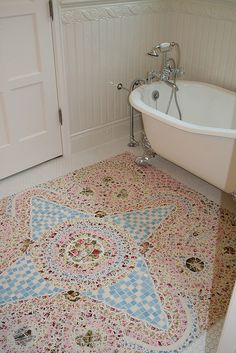 Pique Assiette mosaic bathroom floor by The Dove Studio
