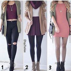 3 Outfits Increíbles. Cual prefieres?Pinterest↠Victoria