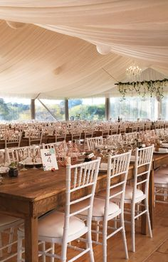 White Tiffany chairs in our marquee with silk lining. Wedding Reception Chairs, Wedding Table Settings, Reception Ideas, Wedding Venues, Wedding Set Up, Wedding Ideas, Tiffany White, Tiffany Chair, Function Room