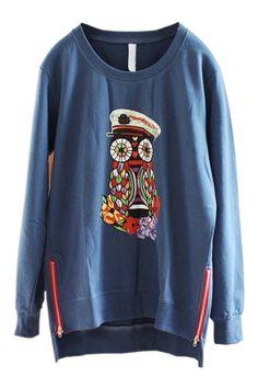 Owl Graphic High-low Sweatshirt OASAP.com