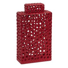 Carson Red Tall Cutwork Urn Imax Jars, Urns & Pots Decorative 16Hx9Wx4d Accessories Home Decor